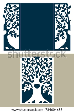 Abstract Frame With Tree Suitable For Laser Cutting Lazercut Tree