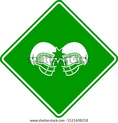 two football helmets colliding