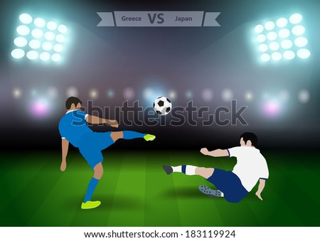 Two football players in jump to strike the ball at the stadium, Soccer players greece versus japan, Brazil 2014 group C Vector illustration modern design template