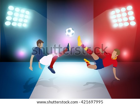 two football players in jump to