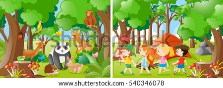 two forest scenes with kids and