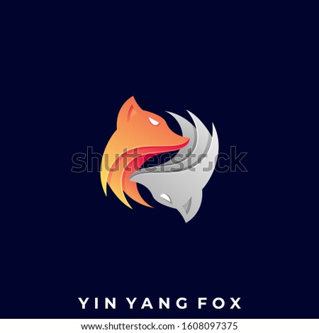 Two Fox Circle Illustration Vector Template. Suitable for Creative Industry, Multimedia, entertainment, Educations, Shop, and any related business