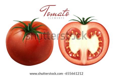 two fresh tomatoes  one sliced