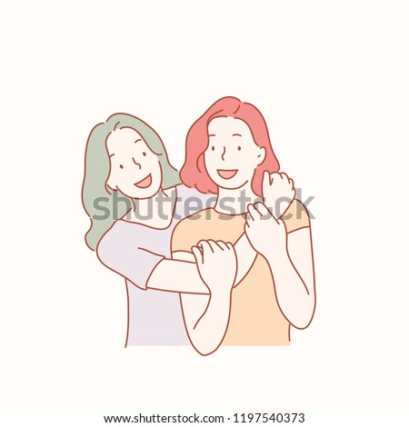 Two friends embracing lovingly. hand drawn style vector design illustrations.