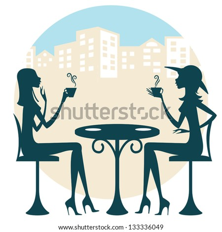 Two friends having a drink and talking