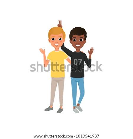 Two friends having fun, happy teenagers friendly hugging vector Illustration