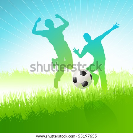Two friends having fun with a football. Vector illustration.