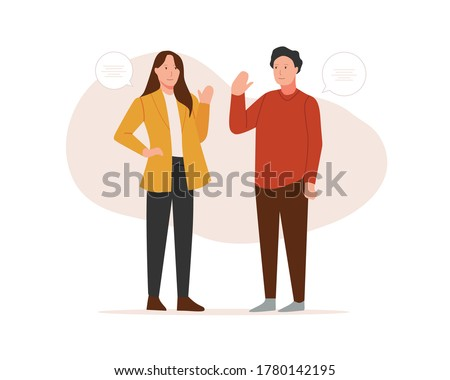 Two friends meeting waving hello with dialogue speech bubbles. Social and friendship concept. Vector illustration in flat style