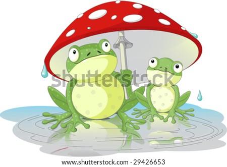 two frogs wearing rain gear