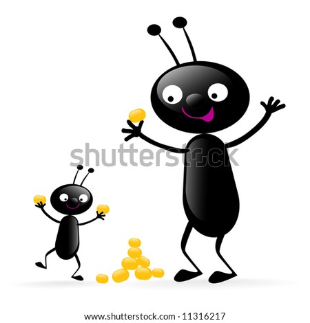 two funny black bugs enjoying their food vector illustration isolated on white