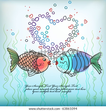 Cartoon Fishes Kissing. funny cartoon fish in love