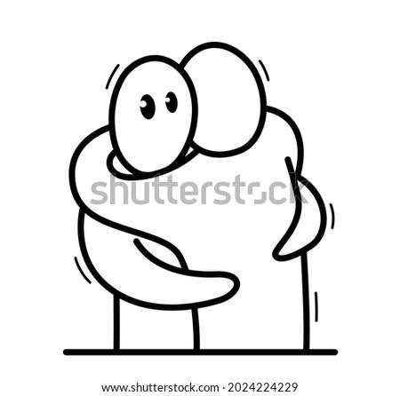 two funny cartoon men hugging