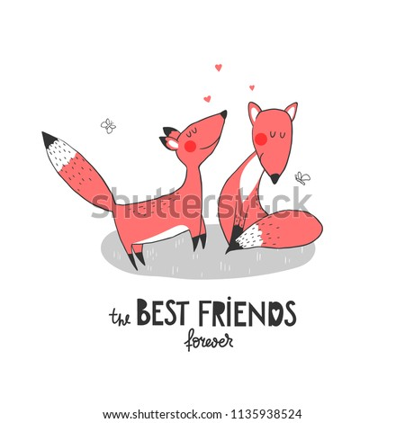 two funny foxes and hearts and