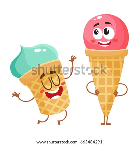 two funny ice cream characters
