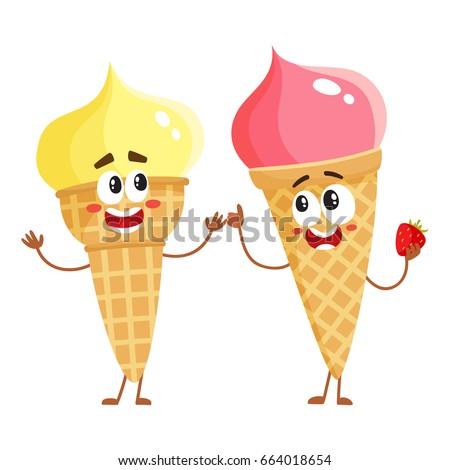 two funny ice cream cone