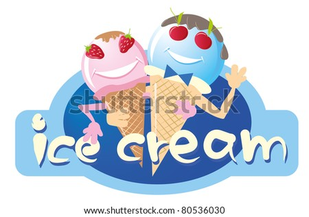 two funny ice cream male and female, the vector