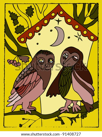 two funny owls near forest