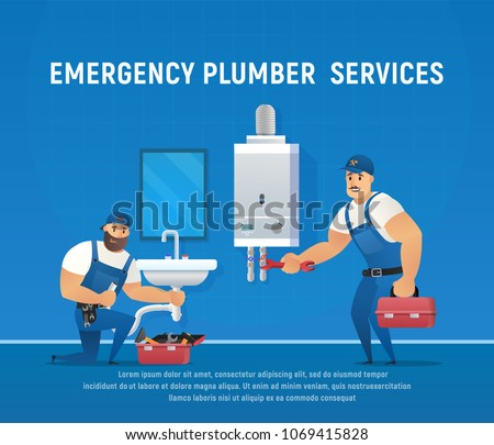 Two Funny Plumbers Repair Pipe and Boiler Maintenance. Plumbing service concept. Vector illustrations of Characters with wrench.