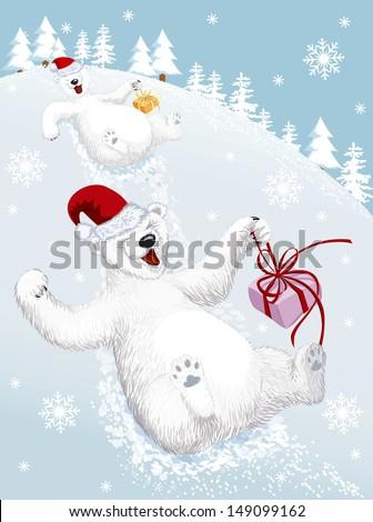 two funny polar bears sliding
