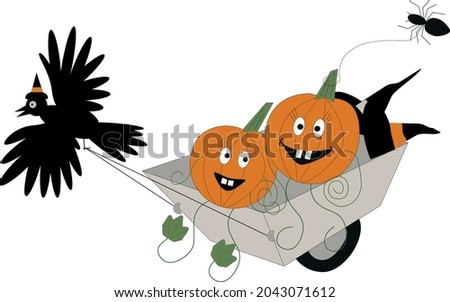 two funny pumpkins are in a