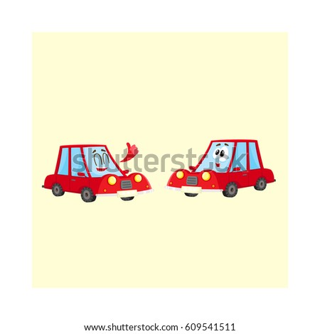 two funny red car characters