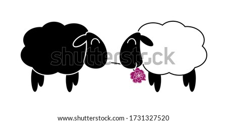 two funny sheep in love in