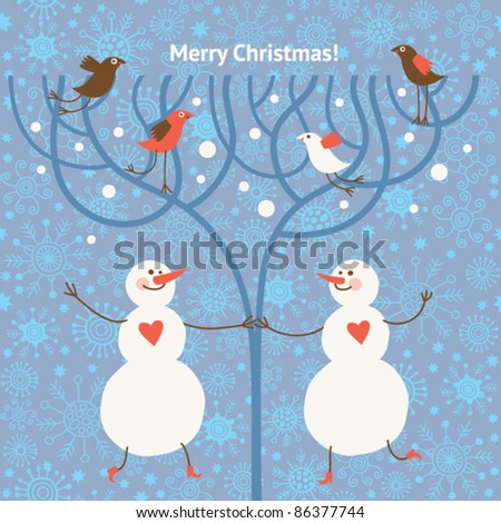 Two funny snowman - stock vector