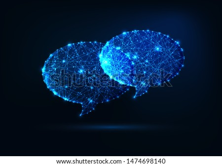 Two futuristic glowing low polygonal speech bubbles made of stars, lines, dots isolated on dark blue background. Communication, chatting, dialogue concept. Modern wireframe design vector illustration. Сток-фото ©