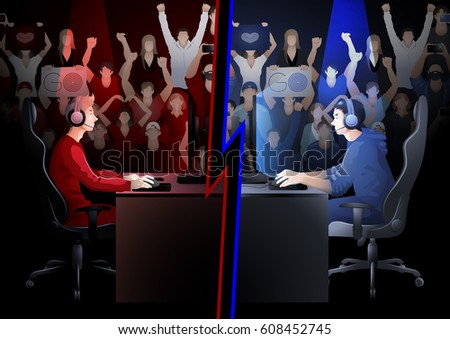 Two game players sitting at the table opposite each other with a crowd of cheering fans on the background. Side view. Vector participants of cyber sport tournament