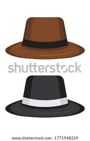 two gangster hats on white