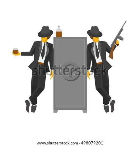 two gangsters in suits standing