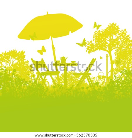 two garden chairs with umbrella