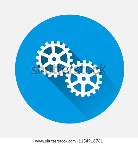 two gears  on blue background