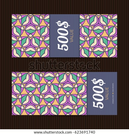 Two gift vouchers in moroccan style. Vector discount cards. Floral ornaments.