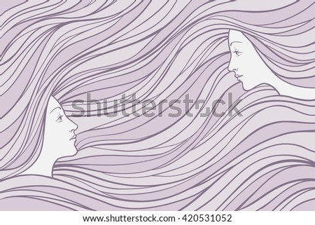 two girl's profile on wavy hair