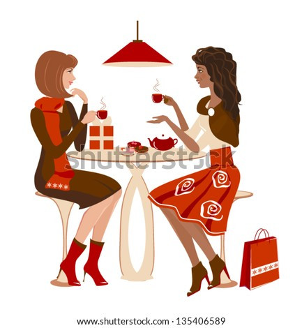 Two girls at a cafe talking and looking on each other. Christmas winter meeting. Vector