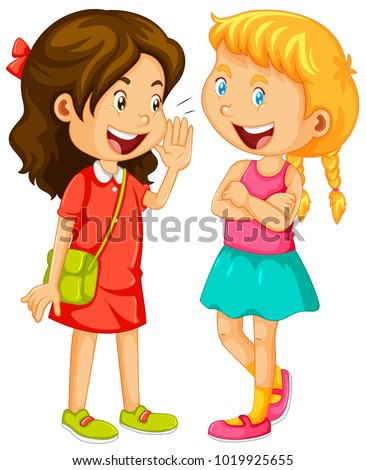Two girls gossipping on white background illustration