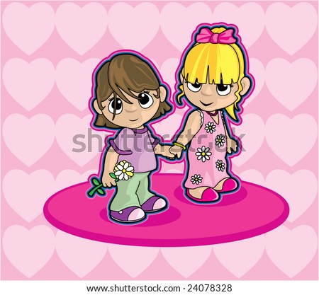 stock vector : Two Girls Holding Hands