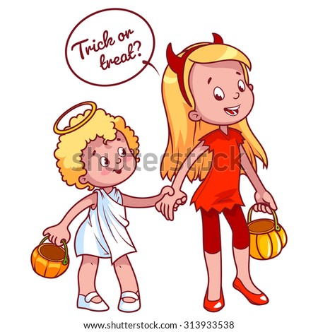 Two girls in costumes for Halloween: angel and demon. Vector illustration on a white background.