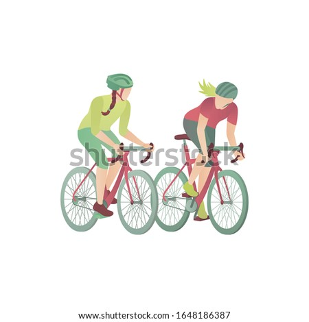 two girls on bicycles  flat