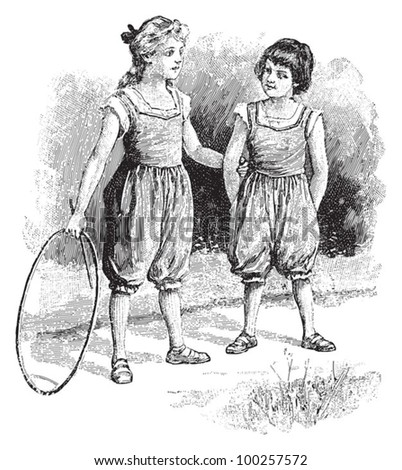 Two girls playing outside with hula hoop / vintage illustration from Die Frau als hausarztin 1911