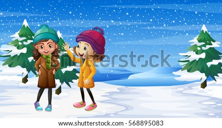 two girls standing on snow
