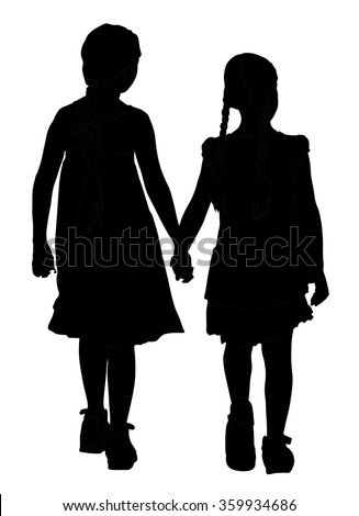 two girls walking and holding