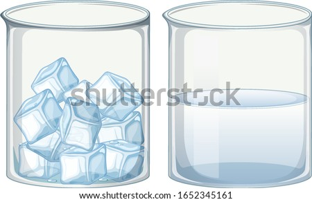 Two glass beakers filled with ice and water illustration