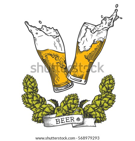 Two glasses of beer with wreath of hops toasting creating splash. Vintage vector engraving illustration for web, poster, invitation to party. Hand drawn design element isolated on white background.