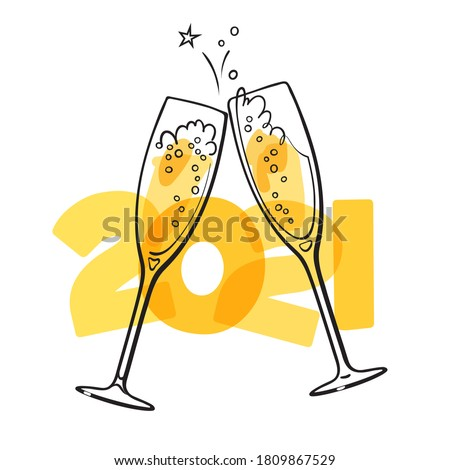 Two glasses of champagne on the  2021 background. Christmas and New Year design. Hand drawn retro style vector illustration.