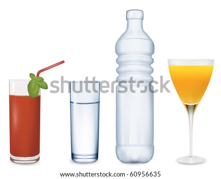 two glasses of juice and some