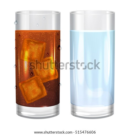 two glasses of water and cola