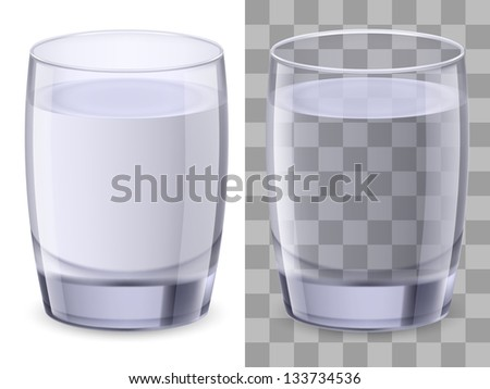 Two glasses of water. Illustration on white background for design.