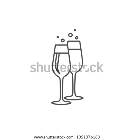 Two glasses of wine linear icon. Eps 10 vector illustration. Lineart vector icon isolated on white background.
